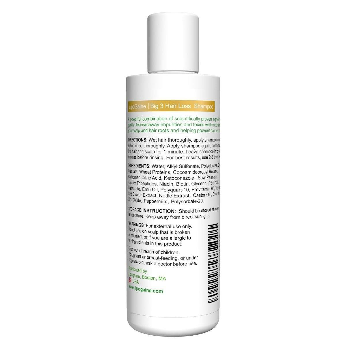 lipogaine hair loss prevention shampoo back