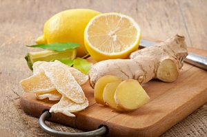 Lemon and ginger on a cutting board