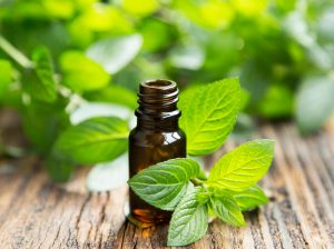 Peppermint essential oil with a peppermint leaf