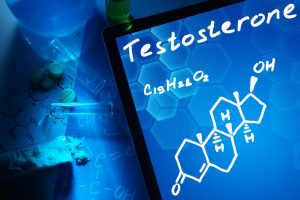 A tablet with the chemical formula for testosterone